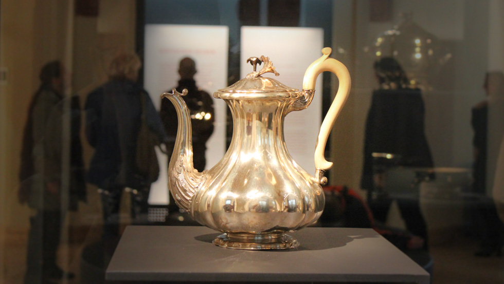 A silver coffeepot at the exhibition of Schwerin Castle museum - The Silver Collection